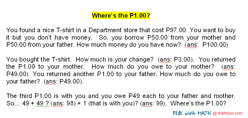 Fun with MATHizen: Where's the P1.00?